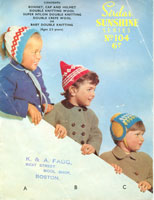 vintage knitting pattern childs hat