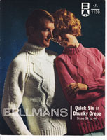 vintage bellmans aran knitting pattern for men or ladies aran sweater