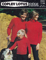 vintage knitting pattern for mens ladies childs aran polo neck jumper 1977