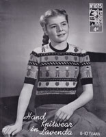 vintage girlsd jumper with hearts and children fiar ilse pattern 1940s