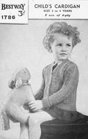 vintage little girls cardigan knitting pattern 1940s bestway 1786