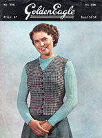 vintage ladies tweed waistcoat and jumper knitting pattern from 1950s Golden Eagle 996