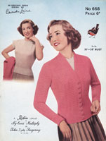 vintage knitting pattern ladies tennis cardigan 1950s