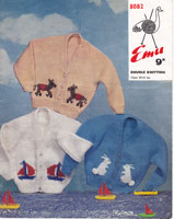 vintage childs picture knit fair isles sailors jumper cardigan vintage knitting pattern 1950s