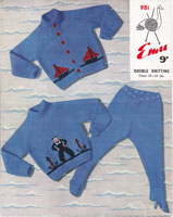 vintage childs sailor boat cardigan jumper knitting pattern vintage 1950s picture knit