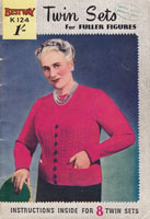 vintage ladies knitting book from 1950s for ladies twinsets fuller figure larger sizes big ladies