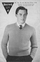 vintage mens jumper knitting pattern 46 inch chest