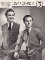 vintage mens knitting pattern jumper 1950s