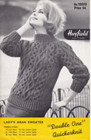 vintage knitting pattern for ladies jumper in aran