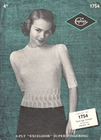 vintage ladies twinset knitting pattern form 1930s 1754