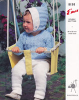 vintage baby knitting patterns 1950 pram set oixie hood