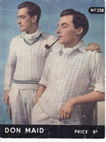 vintage knitting pattern for mens  cricket jumper or slip over or tank top 1940s
