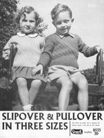 vintage knitting pattern pullovers childs toddlers 1940s
