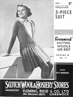 vintage  grils skirt jumper cardigan knitting pattern 1930s