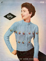 vintage aran knitting pattern for ladies embroidered cardigan