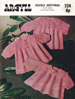 Argyll 724 baby knitting pattern vintage dress and matinee set 1970s
