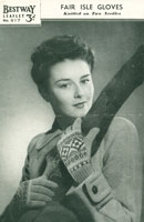 vintage ladies fair isle gloves knitting pattern
