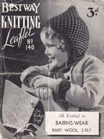 vintage Bestway 140 knitting pattern for childs pixie hood 1930