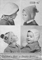 vintage patons 1318 knitting pattern for babies hats from 1950s
