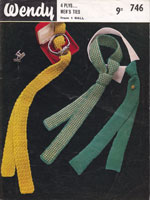 vintage knitting pattern for knitted ties