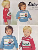 vintage baby picture knit fair isle knitting pattern  lister N1347