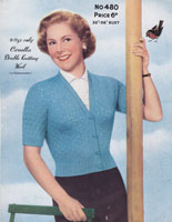 vintage ladies knitting pattern summer cardigan 1950s