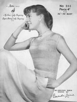 vintage ladies summer top knitting patterns 1950s