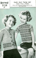vintage fair isle childs twin set