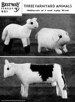 vintage knitting pattern of toys